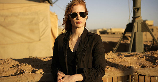 "This undated publicity film image provided by Columbia Pictures Industries, Inc. shows Jessica Chastain playing a member of the elite team of spies and military operatives stationed in a covert base overseas who secretly devoted themselves to finding Osama Bin Laden in Columbia Pictures' gripping new thriller directed by Kathryn Bigelow, ""Zero Dark Thirty.""–Photo by AP."