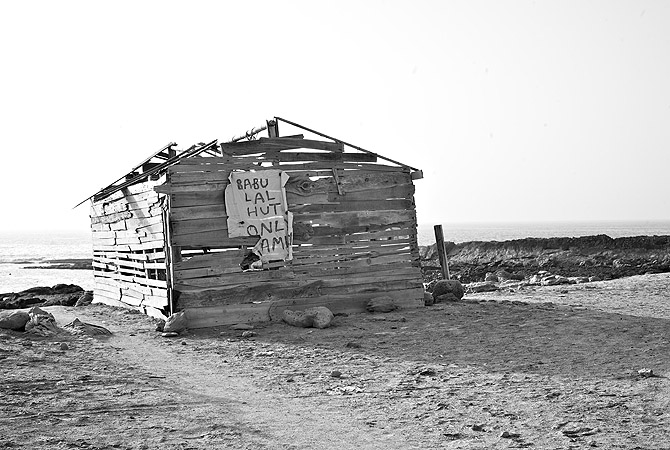 Babu Lal ?tourist villa? on the beach, now just a few planks of wood