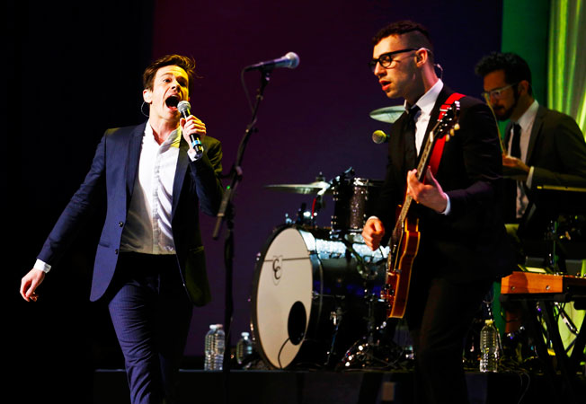 Nate Ruess (L), Jack Antonoff and Andrew Dost of the band Fun quirk up the stage. ?Photo by Reuters