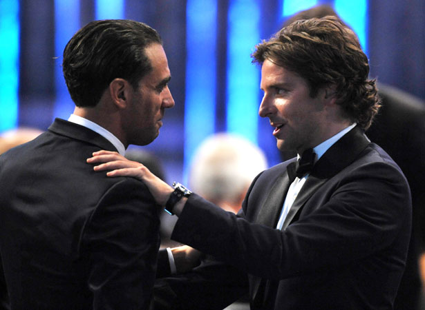Bobby Cannavale and Bradley Cooper speak in the audience. ?Photo by AP