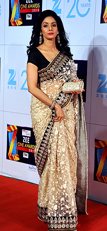 Indian Bollywood actress Sridevi Kapoor attends the Zee Cine Awards 2013 ceremony in Mumbai on January 6, 2013. ? AFP Photo