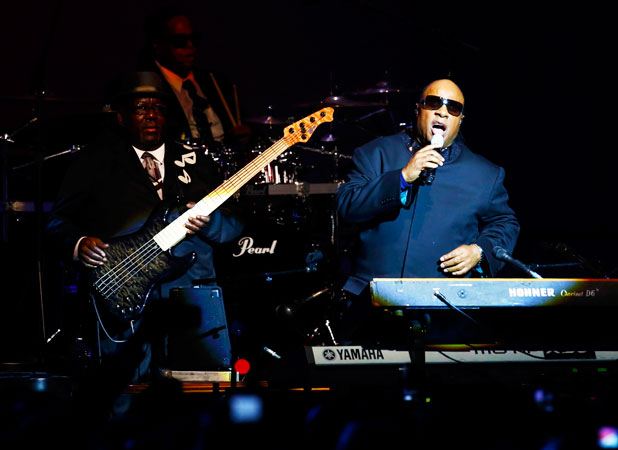 Singer Stevie Wonder performs at the Inaugural Ball. ?Photo by Reuters