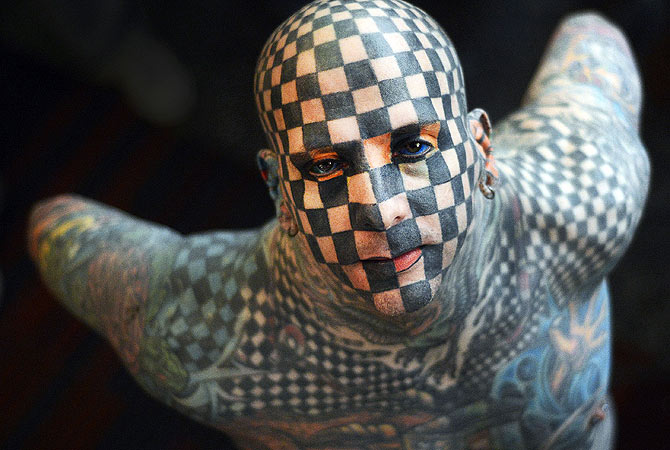 US Matt Gone poses before the opening of the Expo tattoo Venezuela 2013 in Caracas. ? AFP Photo