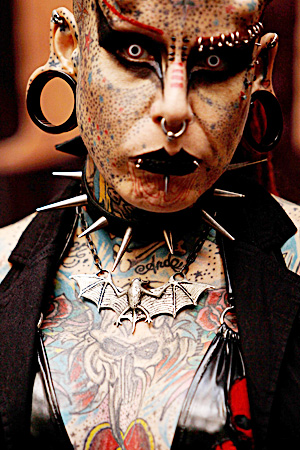Mary Jose Cristerna known as The Vampire Woman poses for a photo at the 3rd annual Venezuela Tattoo International Expo in Caracas. ? AP Photo