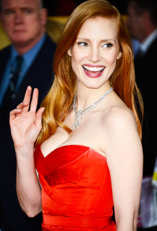Actress Jessica Chastain arrives at the 19th Annual Screen Actors Guild Awards. ?Photo by Reuters