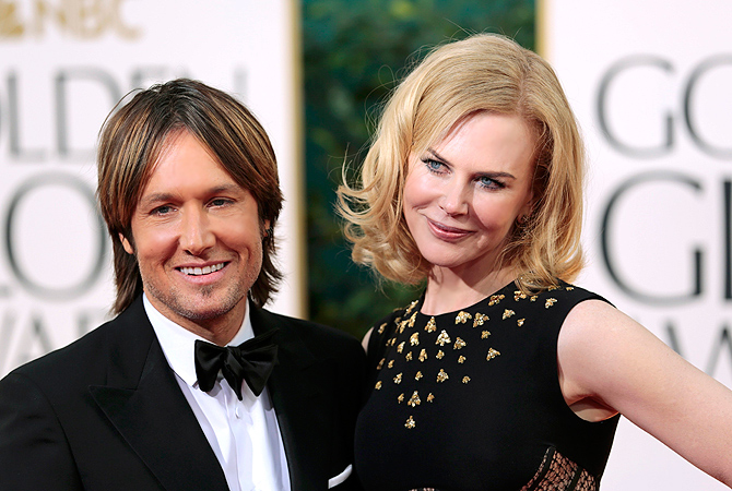 "Actress Nicole Kidman of the TV movie ""Hemingway & Gellhorn"" and her husband Keith Urban. — Reuters Photo"