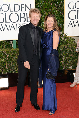 Musician Jon Bon Jovi and Dorothea Hurley arrive at the 70th Annual Golden Globe Awards. — AFP Photo