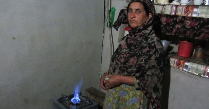 stove lit up by bio-gas in Murree. -Photo by author.