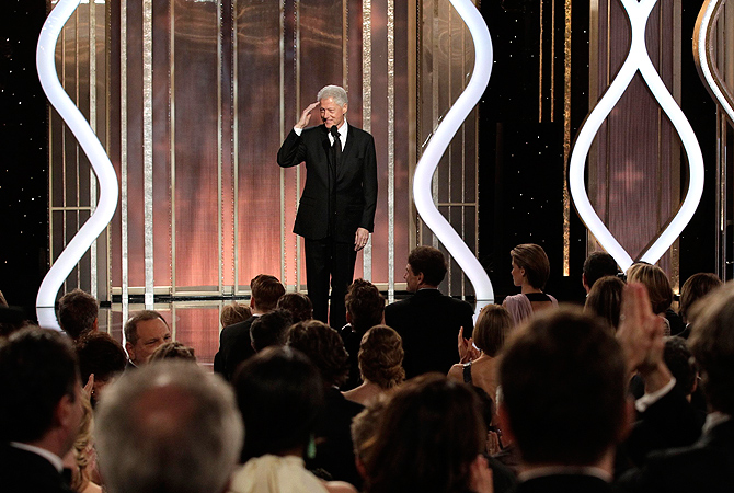 Presenter Bill Clinton on stage at the 70th annual Golden Globe Awards. — Reuters Photo