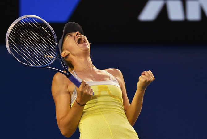 Maria Sharapova of Russia celebrates defeating Venus Williams of the US in their women's singles match at the Australian Open tennis tournament in Melbourne. ? Photo by Reuters