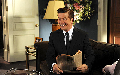 "This image released by NBC shows Alec Baldwin as Jack Donaghy in a scene from the series finale of ""30 Rock,"" airing Thursday, Jan. 31, 2013 on NBC. — AP Photo"
