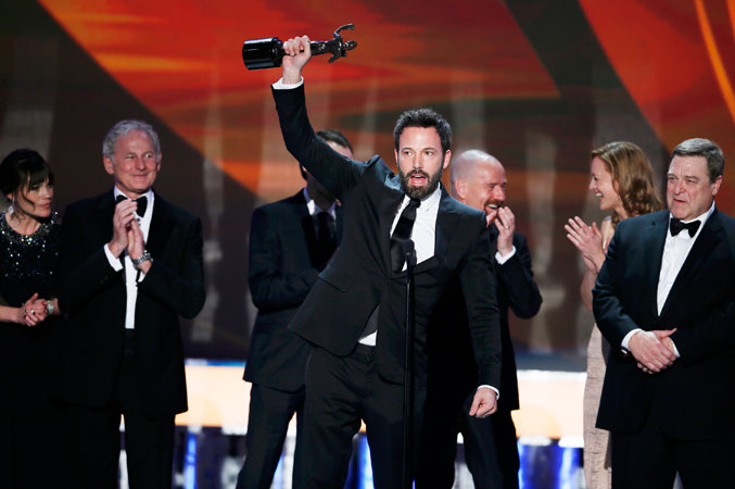 Ben Affleck accepts the award for ?Outstanding Ensemble Cast in a Motion Picture? for ?Argo?. ?Photo by Reuters