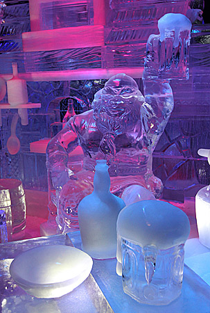A 'dwarf' made of ice, drinks a pint of beer, at the Ice Sculpture festival in Bruges, Belgium, Friday, January 4, 2013. ? AP Photo