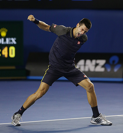 Serbia's Novak Djokovic celebrates his win over Britain's Andy Murray in the men's final at the Australian Open tennis championship in Melbourne, Australia, Sunday, Jan. 27, 2013. – Photo by AP