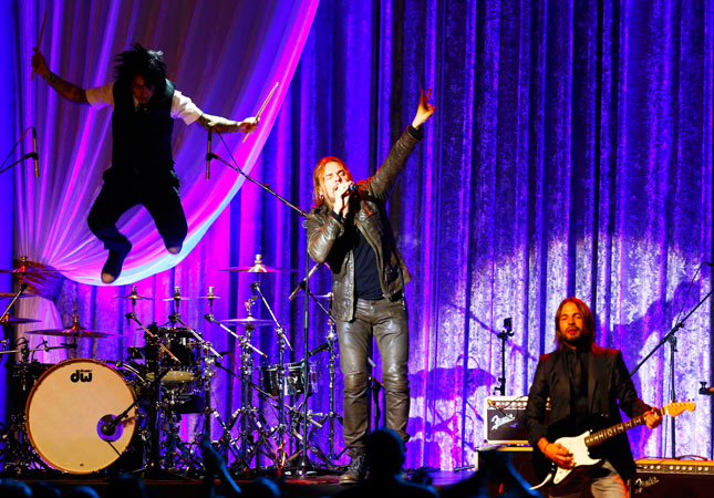 Mexican band Mana rocks the stage of the Inaugural Ball. ?Photo by Reuters