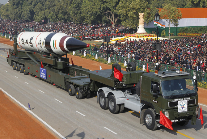 A surface-to-surface Agni V missile is displayed during the Republic Day parade in New Delhi January 26, 2013. India celebrated its 64th Republic Day.