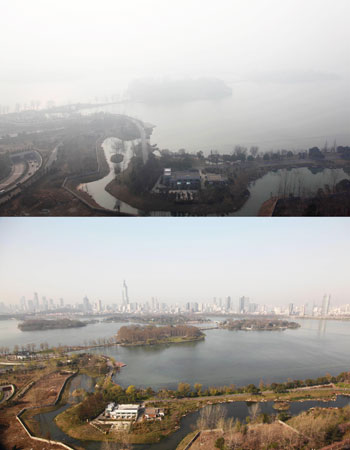 This combo shows the Xuanwu Lake under heavy fog in Nanjing, east China's Jiangsu province, and the same view taken under non-polluted weather on March 31, 2012.  ?Photo by AFP
