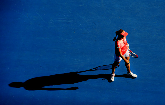 Russia's Ekaterina Makarova reacts during her quarterfinal match against compatriot Maria Sharapova at the Australian Open tennis championship in Melbourne, Australia, Tuesday, Jan. 22, 2013. – Photo by AP