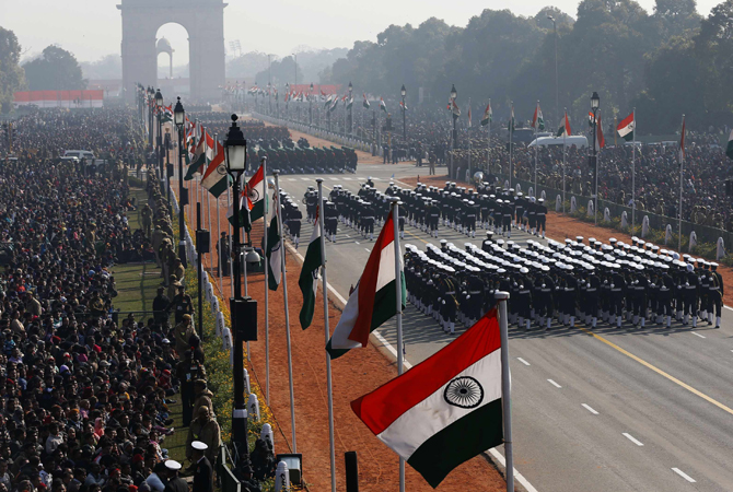Indian soldiers march during the Republic Day parade in New Delhi January 26, 2013. India celebrated its 64th Republic Day.