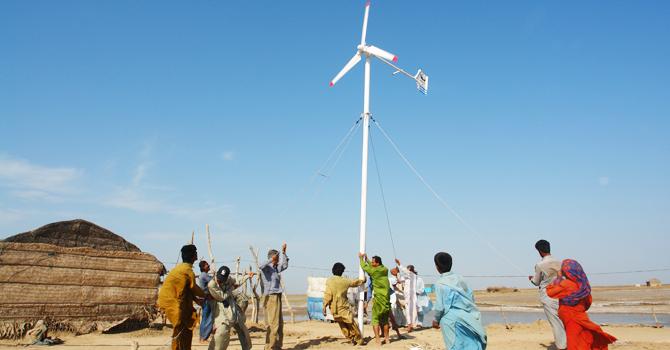Community installed wind turbine in Keti Bunder. -Photo by author