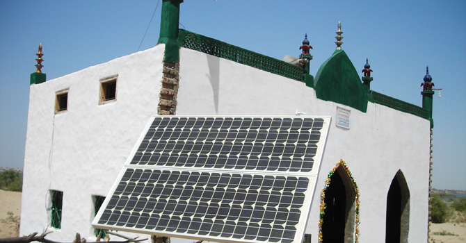 Solar panel powers energy for a mosque in Sindh. -Photo by author