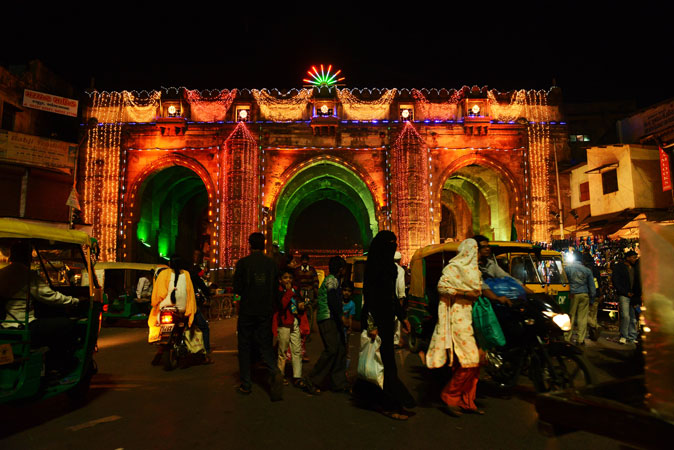 The 600 year old 'Teen Darwaja' is illuminated ahead of Eid Milad-un-Nabi in the Walled City of Ahmedabad. Muslims across India and the globe will celebrate the birthday of Prophet Muhammad (PBUH). ?Photo by AFP