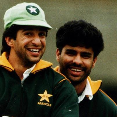 Wasim Akram with Waqar Younis, in 1992. The two fast bowlers between themselves shared more than a thousand wickets for Pakistan.