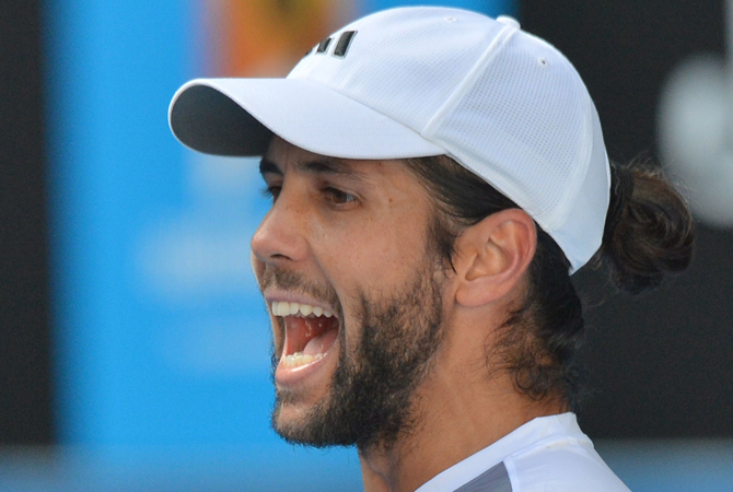 Spain's Fernando Verdasco gestures during his men's singles match against South Africa's Kevin Anderson on the fifth day of the Australian Open tennis tournament in Melbourne on January 18, 2013. ? Photo by AFP