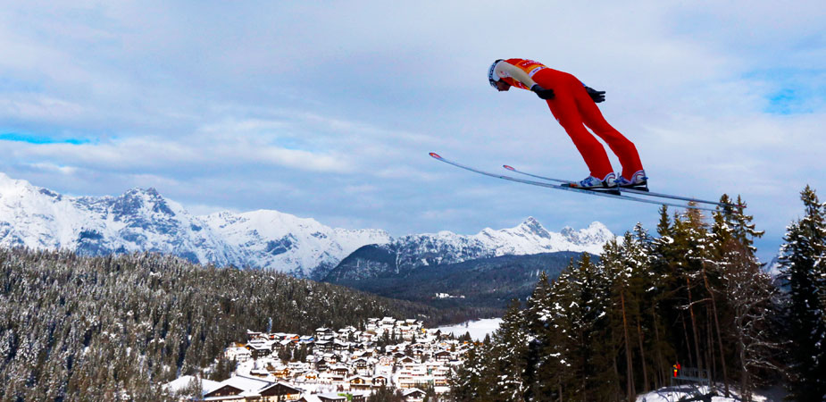 Jason Lamy Chappuis of France soars through the air during his training jump at the Nordic Combined World Cup competition. ?Photo by AP