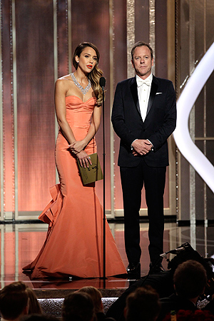 Presenters Jessica Alba (L) and Keifer Sutherland  on stage at the 70th annual Golden Globe Awards in Beverly Hills, California January 13, 2013, in this picture provided by NBC. — Reuters Photo