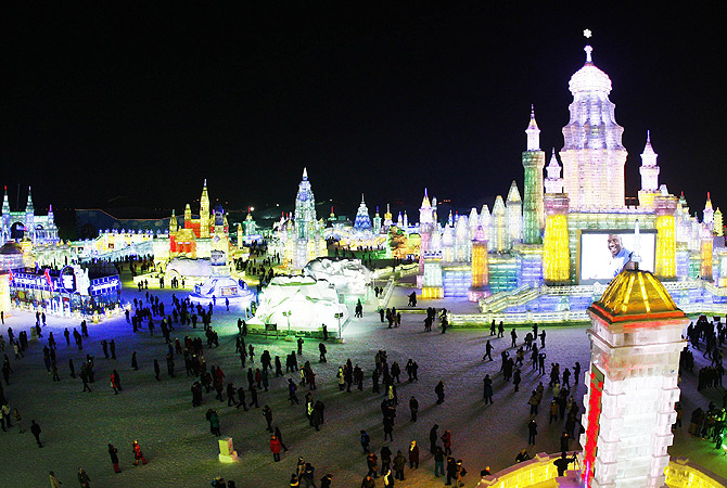 People visiting Ice and Snow World during the opening ceremony of the 2013 Harbin International Ice and Snow Festival in Harbin. ? AFP Photo
