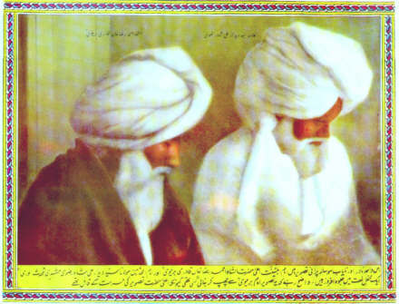 Ahmed Raza Khan (right), the 19th century Islamic reformer, scholar, polemic and founder of what became to be known as 'Barelvi Islam.'