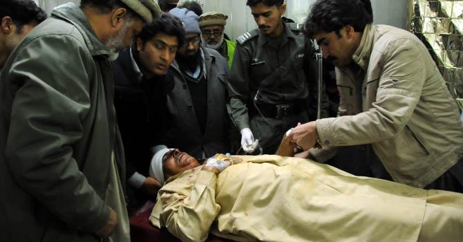 ANP leader Bashir Umerzai father of ANP MPA Shakeel Umerzai being treated at the LRH Hospital Peshawar. - Photo by Zahir Shah Sherazi