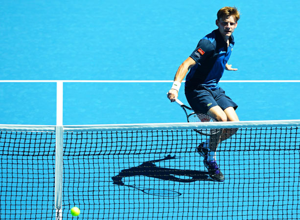 Belgium's David Goffin hits a return against Spain's Fernando Verdasco during their men's singles first round match.