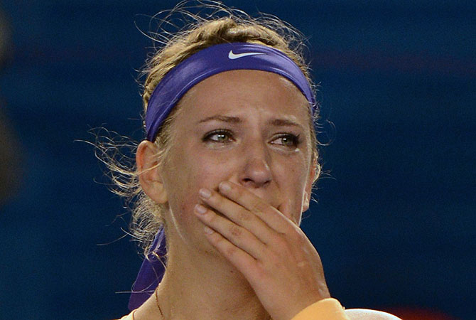 Azarenka, who broke down in tears and sobbed into her towel when the match ended, claimed her second major title and retained the No. 1 ranking. -Photo by AFP