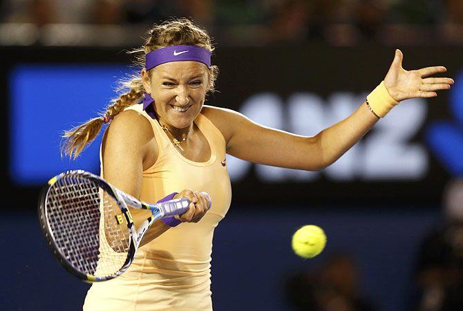 On a crisp, cool night, Azarenka won the coin toss and elected to receive, a ploy that seemed to work when a nervous Li was broken to start the match. After a double fault on the first point, Li's forehand long gave Azarenka the early lead. -Photo by Reuters