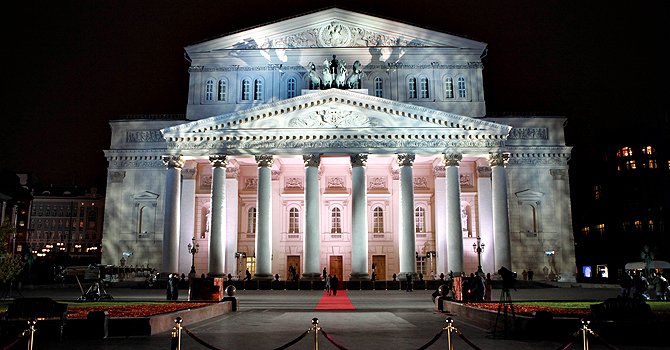 FILE - In this Friday, Oct. 28, 2011 file photo the Bolshoi Theater is illuminated for a gala opening in Moscow,  Russia. The Moscow police said Friday, Jan. 18, 2013, that artistic director at the legendary Bolshoi Theater Sergei Filin was attacked Thursday night by a man who splashed acid onto his face as the 43-year-old former dancer came out of his car outside his home in central Moscow.  (AP Photo /Alexander Zemlianichenko, File)