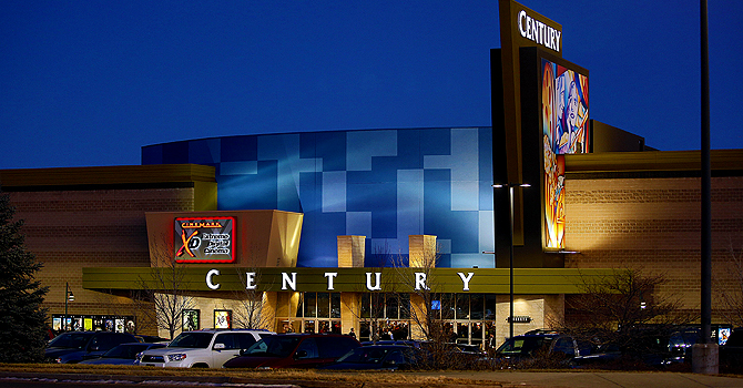 AURORA, CO - JANUARY 17: A view of the remodeled exterior facade of the Cinemark Century 16 Theaters on January 17, 2013 in Aurora, Colorado. The theater was the site of a mass shooting on July 20, 2012 that killed 12 people and wounded dozens of others.   Marc Piscotty/Getty Images/AFP== FOR NEWSPAPERS, INTERNET, TELCOS & TELEVISION USE ONLY ==