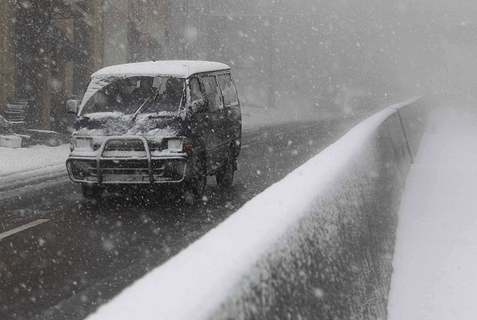 A driver makes his way through the snow in Aley area, Eastern Lebanon. At least 17 people have also died due to the storm in Lebanon, Jordan, Turkey, Israel and the Palestinian territories. Schools in some areas have been shut for days, refugee camps flooded and villages isolated by closed roads.?Photo by Reuters