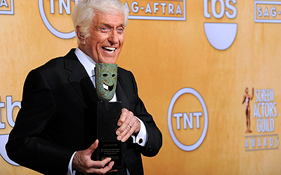 Actor Dick Van Dyke poses backstage. — AP Photo