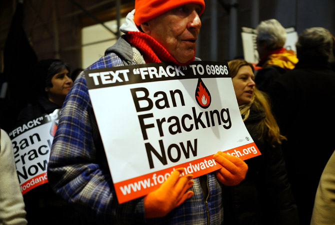 Anti Fracking protesters demonstrate in front of the Waldorf Astoria as New York Gov. Andrew Cuomo visits the hotel for a function in New York City. Fracking, a process that injects millions of gallons of chemical mixed water into a well in order to release gas, has become a contentious issue in New York as critics of the process believe it contaminates drinking water among other hazards. New York City gets much of its drinking water from upstate reservoirs. If the regulations are approved by Governor Cuomo, drilli