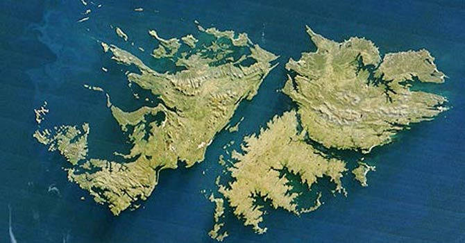 This AFP file photo shows a satellite image of the Falkland Islands which are at present, a British overseas territory. - AFP file photo