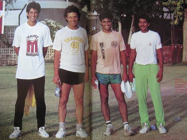A 1988 centrefold from the now defunct popular Pakistan English monthly 'The Cricketer Pakistan' displaying Wasim Akram, Imran Khan, Waqar Yunus and Aquib Javed. The line-up is still considered to be the most fearsome fast bowling attack the Pakistan team has ever had. Wasim, Waqar and Aquib were all Khan protégés.