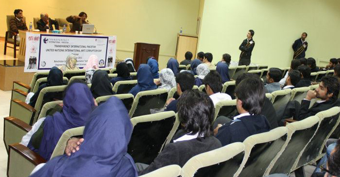 Talking at the Balochistan University of Information and Technology on International Corruption Day in 2012.