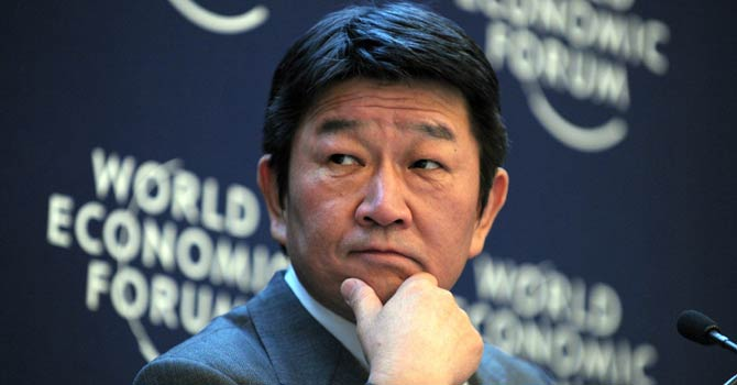 Japanese Minister for Economy, Trade and Industry Toshimitsu Motegi listens during a session at the World Economic Forum in Davos on Jan 26, 2013.  - AFP PHOTO