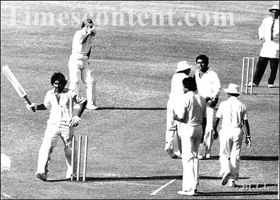 Javed Miandad breaks the stumps with his bat during a Test match in India in 1979. The Pakistan team adopted the Australian tactic of 'sledging' under Mushtaq's captaincy in the late 1970s, and Miandad and Sarfraz Nawaz became the team's leading sledgers.
