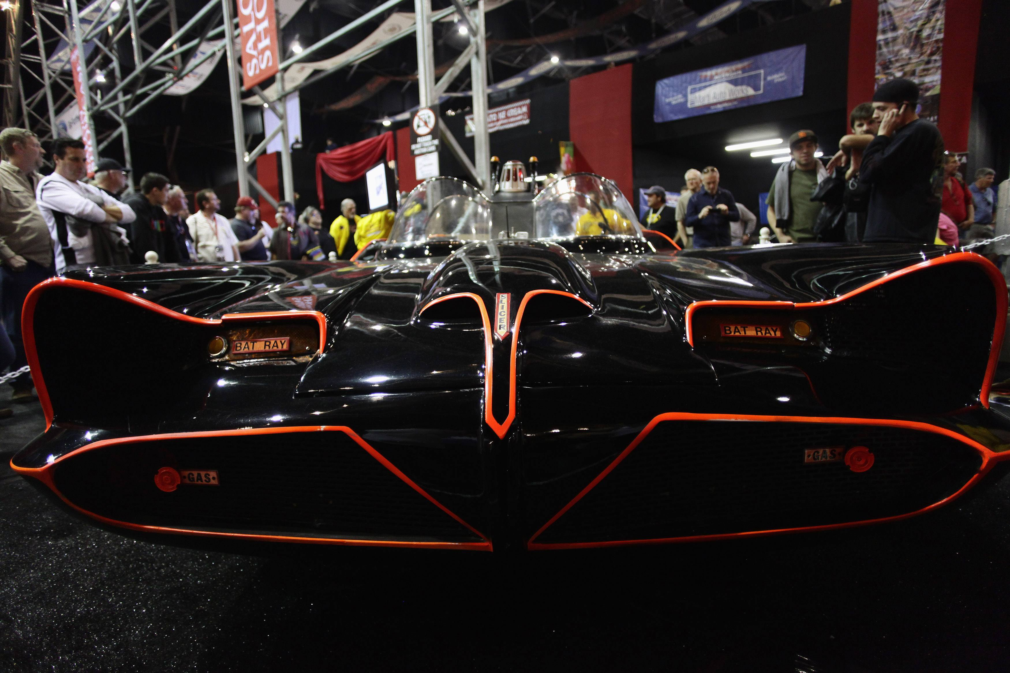 The original Batmobile is displayed during the Barrett-Jackson collectors car auction in Scottsdale, Arizona January 19, 2013. The vehicle was sold for $4,200,000, announced the auction company. REUTERS/Joshua Lott (UNITED STATES - Tags: ENTERTAINMENT TRANSPORT BUSINESS SOCIETY)