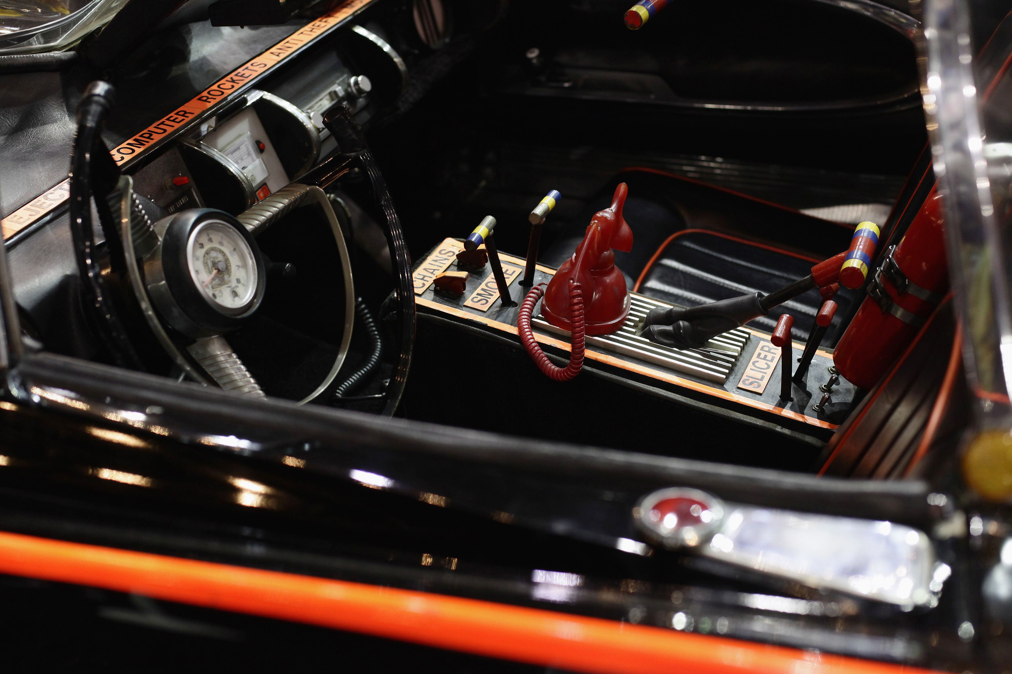 The interior of the original Batmobile is displayed during the Barrett-Jackson collectors car auction in Scottsdale, Arizona January 19, 2013. The vehicle sold for $4,200,000, according to the auction company. REUTERS/Joshua Lott (UNITED STATES - Tags: ENTERTAINMENT SOCIETY BUSINESS TRANSPORT)