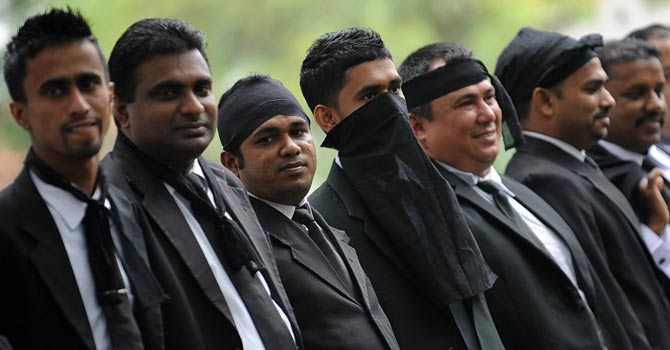 Sri Lankan lawyers protest against the government's move to impeach Chief Justice Shirani Bandaranayake outside the supreme court in Colombo. -AFP Photo