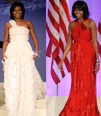 This combo image shows first lady Michelle Obama in her two Jason Wu gowns, first worn at the Inaugural Ball in Washington on Jan 21, 2009 and then yesterday. The ruby-colored custom-made dress was a follow-up to the white gown Wu made for her four years ago when she was new to Washington, the pomp and circumstance, and the fashion press. —Photo by AP
